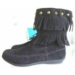 Comfortview Womens Cella Ankle Boots Black Fringes
